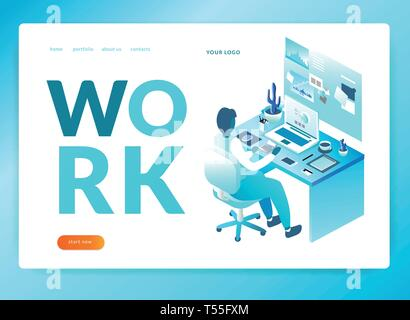 office worker. workplace Isometric illustration. EPS 10. Vector isometric illustration. landing page template - Stock Photo