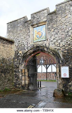 Priory gate, Winchester, Hampshire, England, UK - Stock Photo