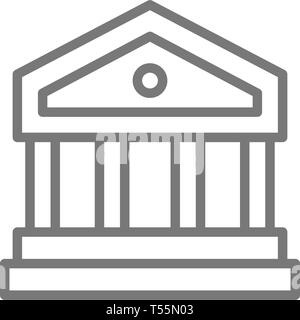 Justice court or bank building line icon. - Stock Photo