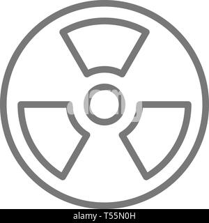 Radiation hazard sign line icon. - Stock Photo