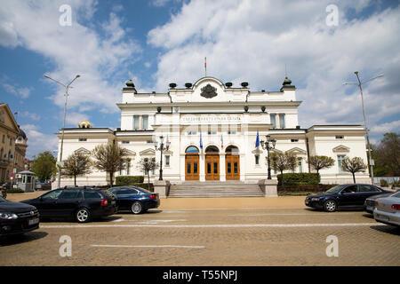 SOFIA, BULGARIA - APRIL 21, 2019: View of parliament, National assembly, Bulgarian parliament in Sofia, Bulgaria. - Stock Photo