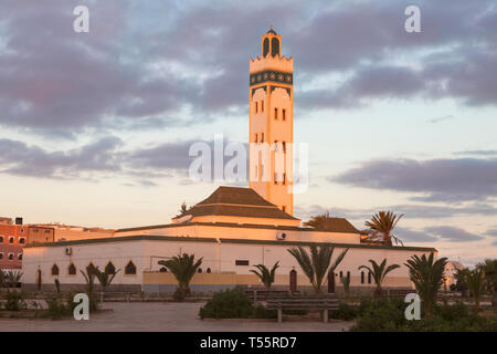 Eddarham Mosque at sunset in Dakhla, Morocco - Stock Photo