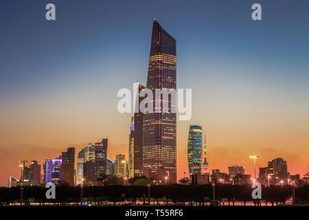 Skyline at sunset in Kuwait City, Kuwait - Stock Photo