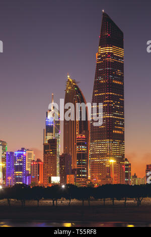 Skyline at sunset in Kuwait City, Kuwait - Stock Photo