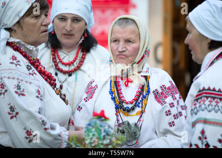 Belarus, Gomel, May 20, 2017. The National Belarusian Museum. Holiday of spring. An elderly woman in national Slavic clothes. Belarusian grandmothers - Stock Photo