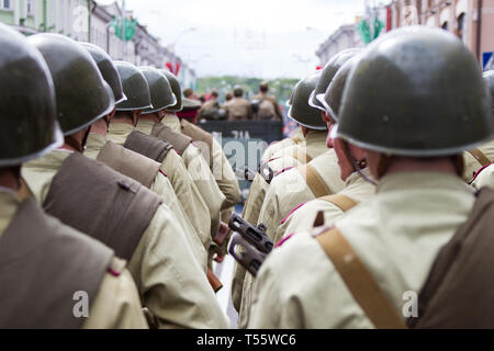 Belarus, Gomel, May 9, 2017. Victory Day. central Street.Soldiers of the Second World War in helmets - Stock Photo