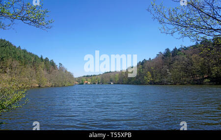 Bathing lake Seehof, Erlenbach at Dahn, Wasgau, Rhineland-Palatinate, Germany - Stock Photo