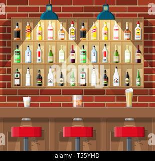 Drinking establishment. Interior of pub, cafe or bar. Bar counter, chairs and shelves with alcohol bottles. Glasses, lamp. Wooden and brick decor. Vec - Stock Photo