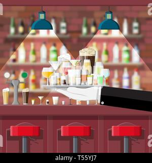 Drinking establishment. Interior of pub, cafe or bar. Bar counter, chairs and shelves with alcohol bottles. Glasses, lamp. Wooden decor. Vector illust - Stock Photo