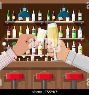Hands group holding glasses with various drinks. Drinking establishment. Interior of pub cafe or bar. Bar counter, shelves with alcohol bottles. Celeb - Stock Photo