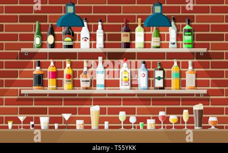 Drinking establishment. Interior of pub, cafe or bar. Bar counter, shelves with alcohol bottles, lamp. Wooden and brick decor. Vector illustration in  - Stock Photo