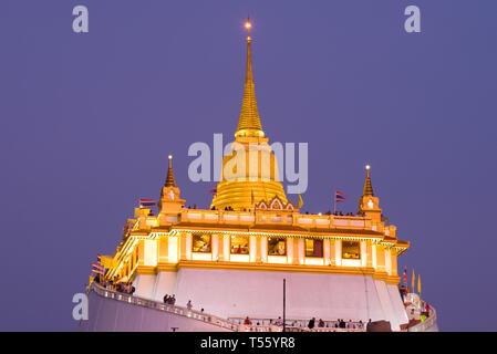 Chedi Buddhist temple Wat Saket close-up in the evening twilight. Bangkok, Thailand - Stock Photo