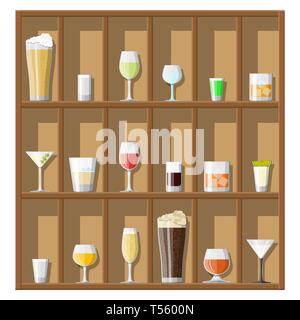 Alcohol drinks collection in glasses on shelves. Vodka champagne wine whiskey beer brandy tequila cognac liquor vermouth gin rum absinthe sambuca cide - Stock Photo