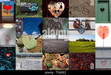 collage, Symbolic image love, relationship, being in love, heart, little heart in different uses, places, graffiti - Stock Photo
