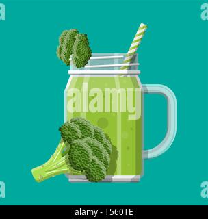 Jar with broccoli smoothie with striped straw. Glass for cocktails with handle. Broccoli fresh vegetable. Vector illustration in flat style - Stock Photo