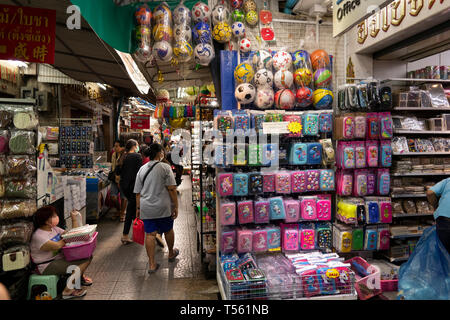 Thailand, Bangkok, Chinatown, Yaowarat, Sampeng Lane market, Soi Wanit 1, children's school bag and ball shop - Stock Photo