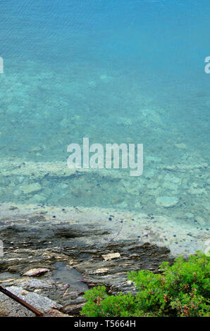detail of rocky coastline with foliage and  clear turquoise sea near touristic place Toroni in Sithonia,  Chalkidiki peninsula, rocky beach in Greece - Stock Photo