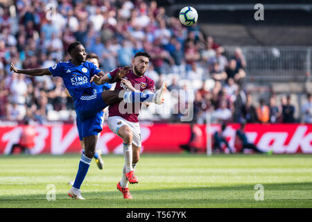 LONDON, ENGLAND - APRIL 20: during the Premier League match between West Ham United and Leicester City at London Stadium on April 20, 2019 in London, United Kingdom. (Photo by Sebastian Frej/MB Media) - Stock Photo
