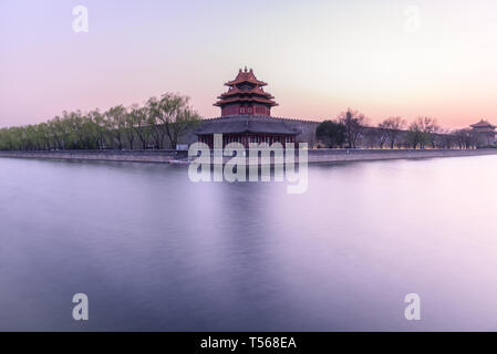 Turret of the Forbidden city at sunset in Beijing,China. - Stock Photo