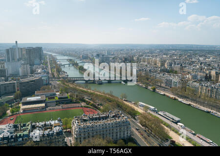 Aerial panoramic view of Paris cityscape with Seine river, Bir Hakeim bridge, island of Swans - Stock Photo