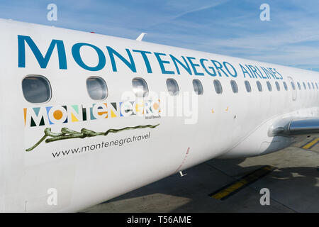 Paris, France - April 5, 2019: plane Embraer ERJ-195LR 4O-AOA of montenegro airlines at Charles de Gaulle Airport - Stock Photo