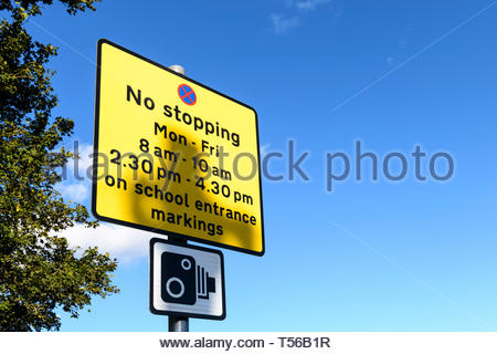 School no stopping sign, Eastcote, London, Middlesex, England, UK - Stock Photo