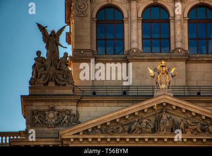Prague, Czech Republic 21 of April of 2019 - close up of National Museum - Stock Photo