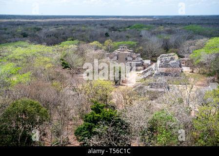 Mayan Ruins at Ek Balam from top  of the Acropolis - Stock Photo
