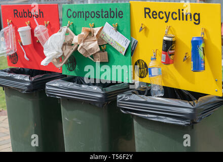 TAURANGA NEW ZEALAND - APRIL 21 2019; Colored public recycling signs with examples attached to waste bins - Stock Photo