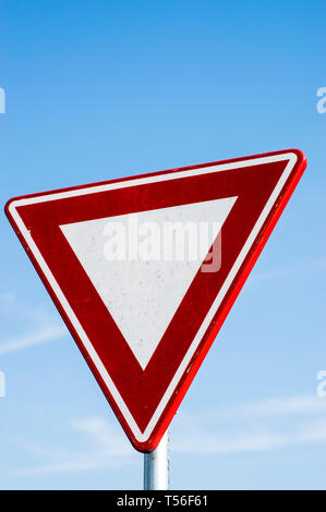 Give way road sign in Amsterdam, the Netherlands - Stock Photo