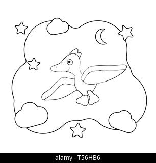 Cute cartoon dinosaur character. Dino print for coloring. Pterodactyl flies among the clouds and stars. For posters, coloring pages, vector illustrati - Stock Photo