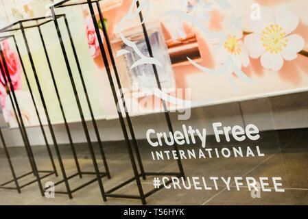 Valencia, Spain - February 2, 2019: Cruelty Free logo on the escaparete of a fashion clothing store. - Stock Photo