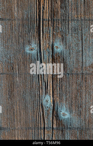 texture background old wooden wall, turquoise painted, color faded, wood weathered with knotholes - Stock Photo