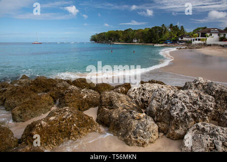 Beach on the West Coast of Barbados near Holetown in St James Parish - Stock Photo