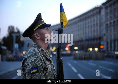 Honor guards standing at attention during a rehearsal of military parade dedicated to Day of Independence of Ukraine. August 23, 2018. Kiev,Ukraine - Stock Photo