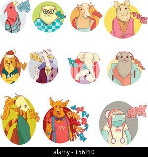 animal character icon design vector - Stock Photo