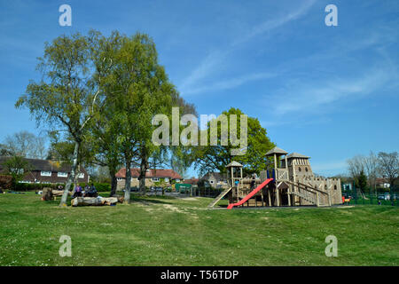 Castle play equipment in Battle Recreation Ground, Battle, East Sussex, UK - Stock Photo