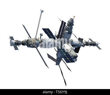 Space Station Isolated On White Background. 3D Illustration. - Stock Photo