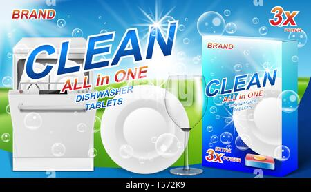 Dish wash soap ads. Realistic plastic dishwashing packaging with detergent gel design. Liquid soap with clean dishes for dishwasher machine. 3d vector - Stock Photo