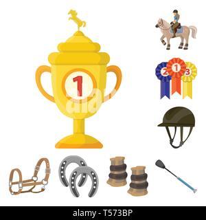 Vector illustration of horseback and equestrian sign. Set of horseback and horse  stock vector illustration. - Stock Photo
