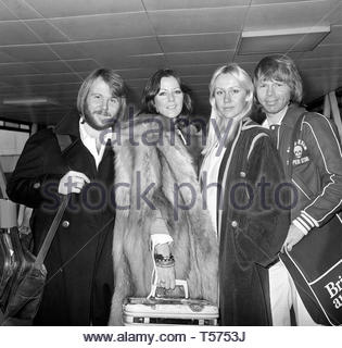 Embargoed to 1400 Monday April 22 File photo dated 15/11/1976 of Swedish pop group ABBA (from left) Benny Andersson, Annifrid Lyngatad, Agnetha Faltskog and Bjorn Ulvaeus whose 1976 record Arrival is the band's best-selling studio album in the UK to date. - Stock Photo