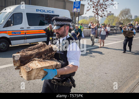 London, UK. 21st April, 2019. Police start to break up and clear Extinction Rebellion protesters' camp on Waterloo Bridge taking away plants, tents and other camp infrastructure. More than 1,000 people have been arrested during the six days of climate change protests. Hundreds of officers from other forces have been sent to the capital to help the Metropolitan Police. Credit: Guy Corbishley/Alamy Live News - Stock Photo