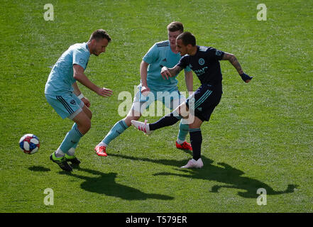 Washington DC, USA. 21st Apr, 2019. New York City FC Forward (28) Alexandru Mitrita scores a goal during an MLS soccer match between the D.C. United and the New York City Football Club at Audi Field in Washington DC. Justin Cooper/CSM/Alamy Live News - Stock Photo