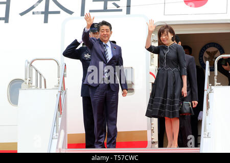 Tokyo, Japan. 22nd Apr, 2019. Japanese Prime Minister Shinzo Abe, accompanied by his wife Akie leaves the Tokyo International Airport to Paris with the new government plane Boeing 777 for a eight-day visit to European and North American countries on Monday, April 22, 2019. Abe will travel France, Italy, Belgium, Slovakia, Canada and United States. Credit: Yoshio Tsunoda/AFLO/Alamy Live News - Stock Photo