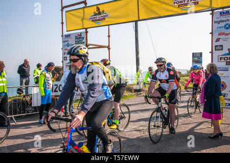 Crosshaven, County Cork, Ireland. 22nd April, 2019. /Riders setting off at the starting line of the Fort 2 Fort Charity Cycle at Camden Fort Meagher Crosshaven Co. Cork. The cycle is to help raise funds for the Mercy University Hospital Foundation, four Cork City and County Lions Clubs, and Camden Fort Meagher Restoration. Credit: David Creedon/Alamy Live News - Stock Photo