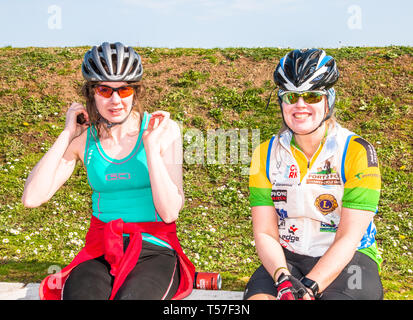 Crosshaven, County Cork, Ireland. 22nd April, 2019. /Sisters, Denise and Caroline McCarthy fro Clonakilty at the starting line of the Fort 2 Fort Charity Cycle at Camden Fort Meagher Crosshaven Co. Cork. The cycle is to help raise funds for the Mercy University Hospital Foundation, four Cork City and County Lions Clubs, and Camden Fort Meagher Restoration. Credit: David Creedon/Alamy Live News - Stock Photo