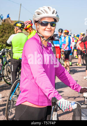 Crosshaven, County Cork, Ireland. 22nd April, 2019. /Genie O'Sullivan, Cork City at the starting line of the Fort 2 Fort Charity Cycle at Camden Fort Meagher Crosshaven Co. Cork. The cycle is to help raise funds for the Mercy University Hospital Foundation, four Cork City and County Lions Clubs, and Camden Fort Meagher Restoration. Credit: David Creedon/Alamy Live News - Stock Photo