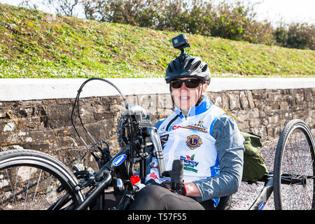 Crosshaven, County Cork, Ireland. 22nd April, 2019. /Chris Slavin from Danvers, Massachusetts at the starting line of the Fort 2 Fort Charity Cycle at Camden Fort Meagher Crosshaven Co. Cork. The cycle is to help raise funds for the Mercy University Hospital Foundation, four Cork City and County Lions Clubs, and Camden Fort Meagher Restoration. Credit: David Creedon/Alamy Live News - Stock Photo