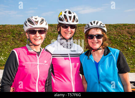 Crosshaven, County Cork, Ireland. 22nd April, 2019.  /Kath O' Regan, Ann Kelleher and Deirdre Hillard from Cobh at the starting line of the Fort 2 Fort Charity Cycle at Camden Fort Meagher Crosshaven Co. Cork. The cycle is to help raise funds for the Mercy University Hospital Foundation, four Cork City and County Lions Clubs, and Camden Fort Meagher Restoration. Credit: David Creedon/Alamy Live News - Stock Photo