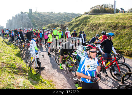Crosshaven, County Cork, Ireland. 22nd April, 2019. /Cyclists preparing to set off on the Fort 2 Fort Charity Cycle at Camden Fort Meagher Crosshaven Co. Cork. The cycle is to help raise funds for the Mercy University Hospital Foundation, four Cork City and County Lions Clubs, and Camden Fort Meagher Restoration. Credit: David Creedon/Alamy Live News - Stock Photo
